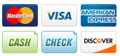 We Accept: Cash, Check, Visa, Mastercard, Discover, American Express